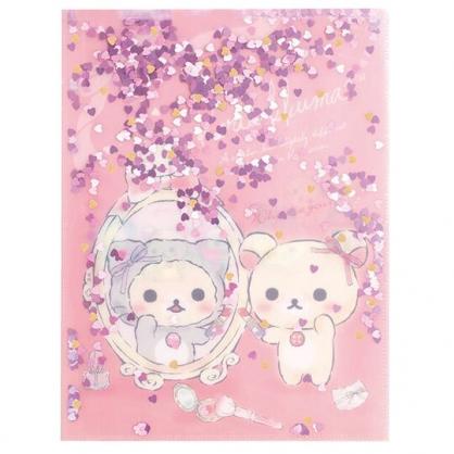 〔小禮堂〕懶懶熊 牛奶熊 雙開式文件夾《A4.粉.亮片流沙》資料夾.檔案夾.L夾