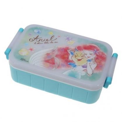 〔小禮堂〕迪士尼 小美人魚 日製方形雙扣便當盒附筷《綠白.牽手》520ml.保鮮盒.食物盒.餐盒