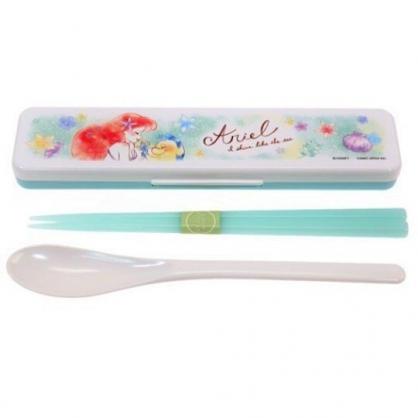 〔小禮堂〕迪士尼 小美人魚 日製盒裝兩件式餐具組《綠白.牽手》匙筷.環保餐具.兒童餐具