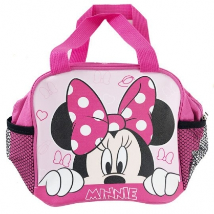 〔小禮堂〕迪士尼 米妮 方形皮質手提便當袋《桃.半臉》手提袋.野餐袋