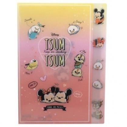 〔小禮堂〕迪士尼 TsumTsum 日製L型分類文件夾《黃橘.愛心》檔案夾.資料夾.L夾