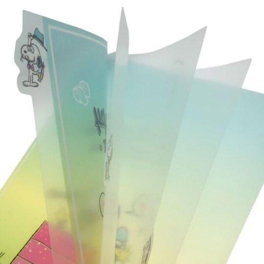 〔小禮堂〕史努比 日製L型分類文件夾《綠黃.坐屋頂》檔案夾.資料夾.L夾