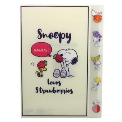 〔小禮堂〕史努比 日製L型分類文件夾《米藍.拿草莓》檔案夾.資料夾.L夾