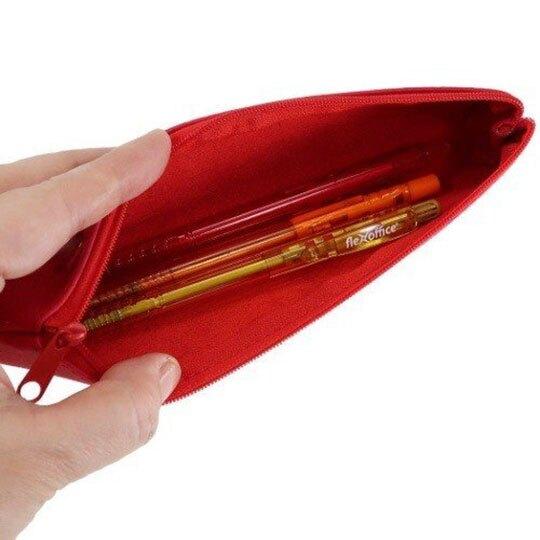 〔小禮堂〕史努比 皮質壓紋拉鍊細筆袋《紅.大臉》化妝包.鉛筆盒