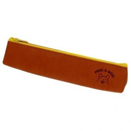 〔小禮堂〕迪士尼 小熊維尼 皮質壓紋拉鍊細筆袋《棕.大臉》化妝包.鉛筆盒