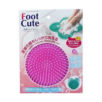 〔小禮堂〕小久保工業所 日製圓形矽膠洗腳按摩刷《粉》 洗腳刷.足刷