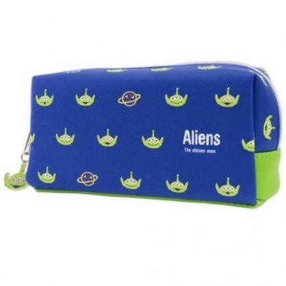 〔小禮堂〕迪士尼 三眼怪 方形皮質拉鍊筆袋《藍綠.大臉滿版》收納包.化妝包.鉛筆盒