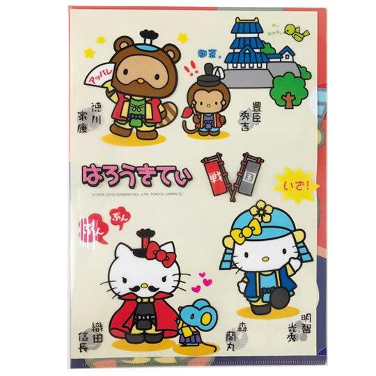 〔小禮堂〕Hello Kitty 日製L型文件夾《藍紅.戰國》檔案夾.資料夾.L夾