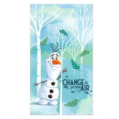 〔小禮堂〕迪士尼 冰雪奇緣 雪寶 棉麻長門簾《綠白.樹林》85x150cm.窗簾