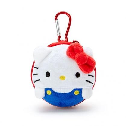 〔小禮堂〕Hello Kitty 迷你造型耳朵絨毛硬殼收納包《紅白》掛飾.耳機收納盒