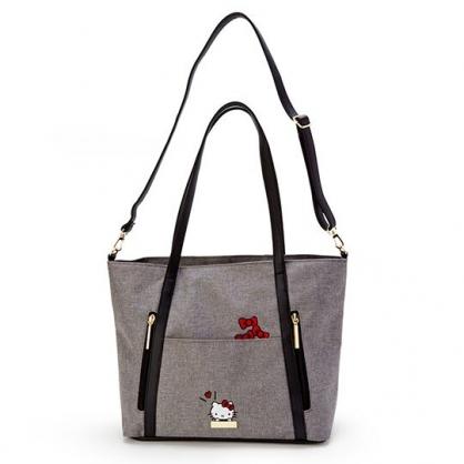 〔小禮堂〕Hello Kitty 橫式牛仔布拉鍊斜背包側背包《灰黑.大臉》肩背包.手提包