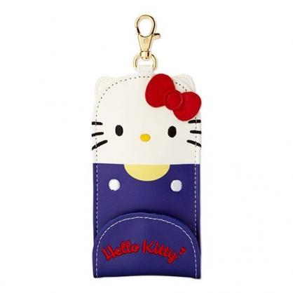 〔小禮堂〕Hello Kitty 造型耳朵皮質扣式伸縮鑰匙包《藍白》遙控器包.掛飾.鑰匙圈