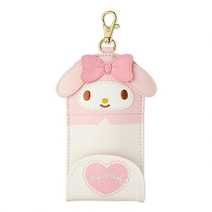〔小禮堂〕美樂蒂 造型耳朵皮質扣式伸縮鑰匙包《粉白》遙控器包.掛飾.鑰匙圈