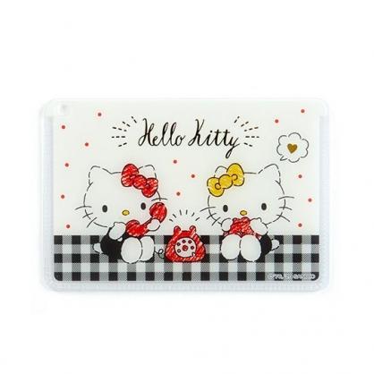 〔小禮堂﹞Hello Kitty 日製方形塑膠票卡夾《黑白.講電話》證件夾.車票夾.卡套