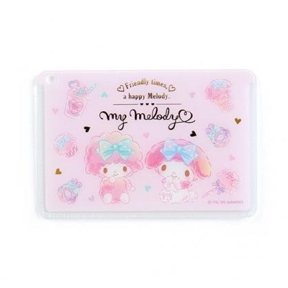 〔小禮堂﹞美樂蒂 日製方形塑膠票卡夾《粉白.甜點》證件夾.車票夾.卡套