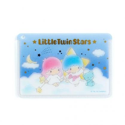 〔小禮堂﹞雙子星 日製方形塑膠票卡夾《藍白.雲朵上》證件夾.車票夾.卡套