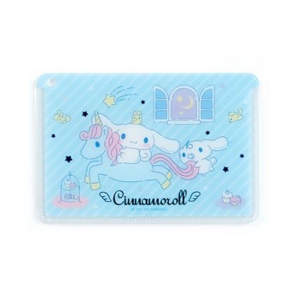 〔小禮堂﹞大耳狗 日製方形塑膠票卡夾《藍白.獨腳獸》證件夾.車票夾.卡套