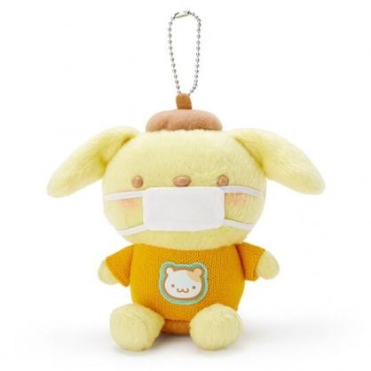 〔小禮堂〕布丁狗 戴口罩絨毛玩偶娃娃吊飾《黃棕》掛飾.鑰匙圈