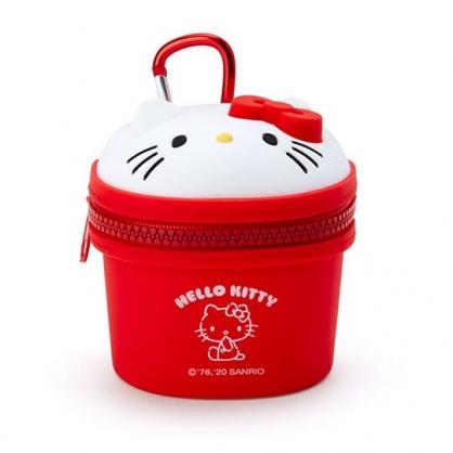 〔小禮堂〕Hello Kitty 立體大臉造型矽膠吊飾零錢包《紅白》掛飾收納包.耳機包