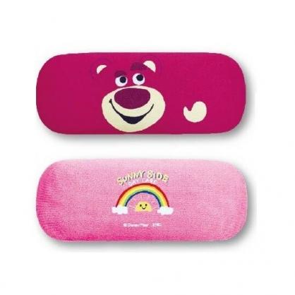 〔小禮堂〕迪士尼 玩具總動員 熊抱哥 尼龍硬殼眼鏡盒《桃.大臉》附眼鏡布.收納盒