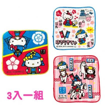 〔小禮堂〕Hello Kitty 純棉割絨圓角小方巾組《3入.藍紅.戰國》16x16cm.毛巾.手帕