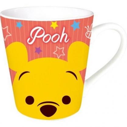 〔小禮堂〕迪士尼 小熊維尼 陶瓷馬克杯《黃橘.大臉》咖啡杯.茶杯