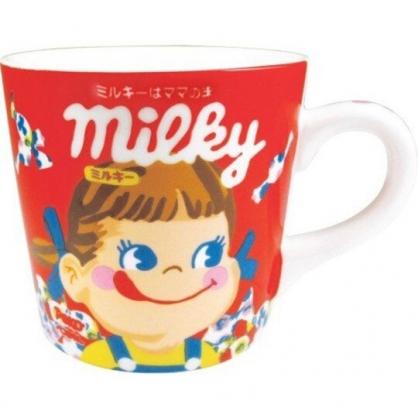 〔小禮堂〕不二家PEKO 陶瓷馬克杯方巾組《紅白.糖果》咖啡杯.茶杯.手帕