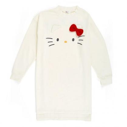 〔小禮堂〕Hello Kitty 立體耳朵休閒棉質長袖長版上衣《白》衛衣.長T.連身洋裝