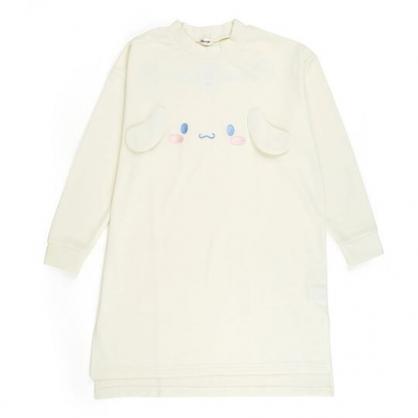 〔小禮堂〕大耳狗 立體耳朵休閒棉質長袖長版上衣《白》衛衣.長T.連身洋裝