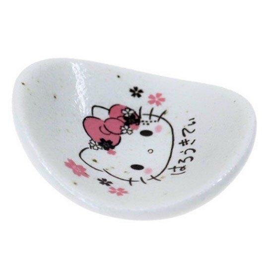 〔小禮堂〕Hello Kitty 日製圓形陶瓷筷架《粉白.大臉》筆架.紙鎮