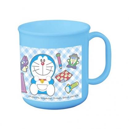 〔小禮堂〕哆啦A夢 日製單耳塑膠小水杯《藍.格紋》200ml.茶杯.漱口杯