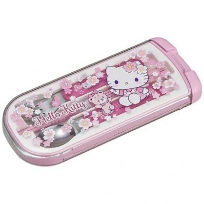 〔小禮堂〕Hello Kitty 日製滑蓋三件式餐具組《粉白.櫻花》叉匙.匙筷.環保餐具.兒童餐具