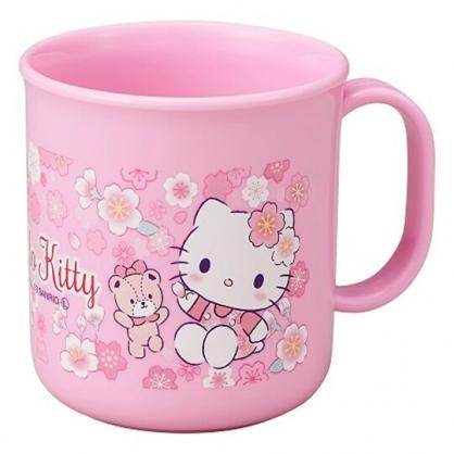 〔小禮堂〕Hello Kitty 日製單耳塑膠小水杯《粉.櫻花》200ml.茶杯.漱口杯