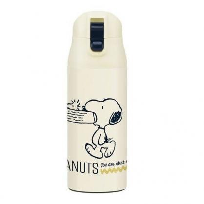 〔小禮堂〕史努比 超輕量彈蓋不鏽鋼保溫瓶《米.咬狗碗》360ml.水壺.水瓶