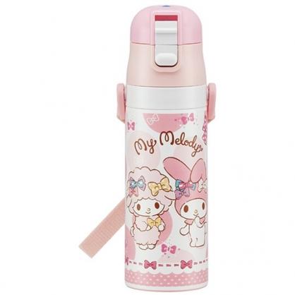 〔小禮堂〕美樂蒂 超輕量彈蓋不鏽鋼保溫瓶附背帶《粉白.點點紋》470ml.水壺.水瓶