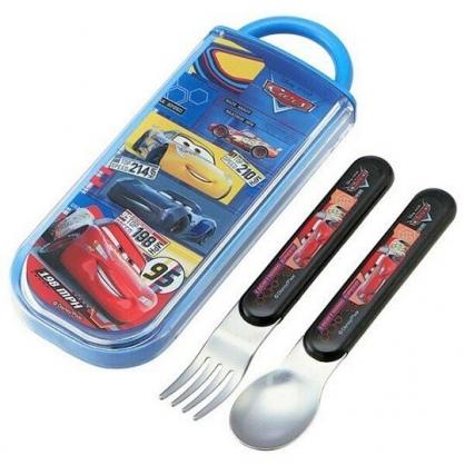〔小禮堂〕迪士尼 閃電麥坤 日製滑蓋兩件式餐具組《藍黃.格圖》叉匙.環保餐具.兒童餐具