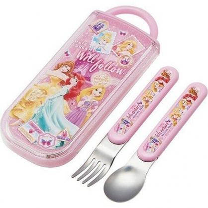 〔小禮堂〕迪士尼 公主 日製滑蓋兩件式餐具組《粉紫.禮服》叉匙.環保餐具.兒童餐具