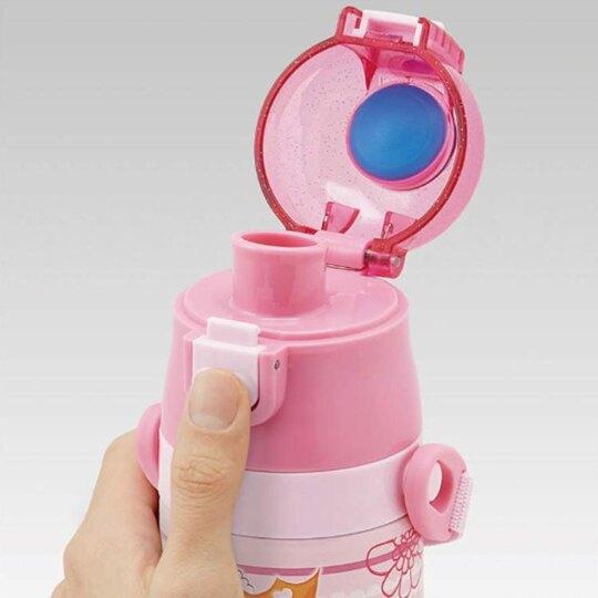 〔小禮堂〕迪士尼 公主 超輕量彈蓋不鏽鋼保溫瓶附背帶《粉綠.禮服》470ml.水壺.水瓶