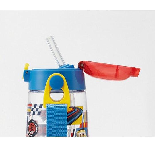 〔小禮堂〕迪士尼 玩具總動員 透明彈蓋吸管水壺附背帶《綠藍.格圖》480ml.兒童水壺.水瓶