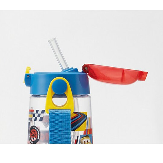 〔小禮堂〕迪士尼 閃電麥坤 透明彈蓋吸管水壺附背帶《藍紅.側臉》480ml.兒童水壺.水瓶