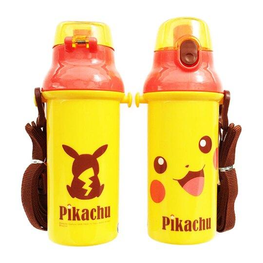 〔小禮堂〕神奇寶貝Pokemon皮卡丘 日製直飲式水壺附背帶《黃橘.大臉》480ml.兒童水壺.水瓶