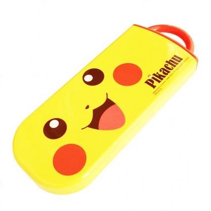 〔小禮堂〕神奇寶貝Pokemon皮卡丘 日製滑蓋三件式餐具組《黃橘.大臉》叉匙.匙筷.環保餐具.兒童餐具