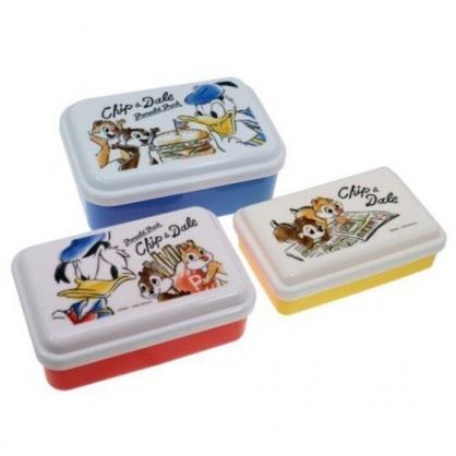〔小禮堂〕迪士尼 唐老鴨 奇奇蒂蒂 日製方形保鮮盒組《3入.藍白.漢堡》便當盒.食物盒.餐盒