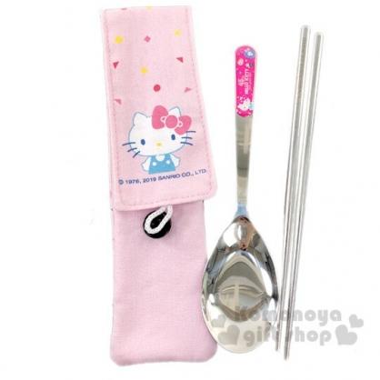 〔小禮堂〕Hello Kitty 兩件式不鏽鋼餐具組附餐具袋《粉.45週年》筷匙組.環保餐具