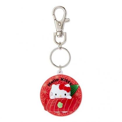 〔小禮堂〕Hello Kitty 立體壽司盤造型塑膠鑰匙圈《紅》掛飾.吊飾.鎖圈