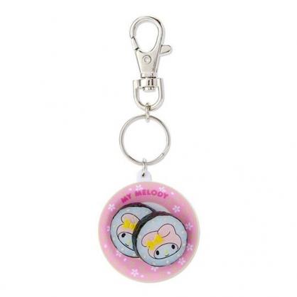 〔小禮堂〕美樂蒂 立體壽司盤造型塑膠鑰匙圈《粉》掛飾.吊飾.鎖圈