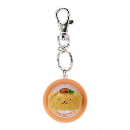 〔小禮堂〕布丁狗 立體壽司盤造型塑膠鑰匙圈《棕》掛飾.吊飾.鎖圈