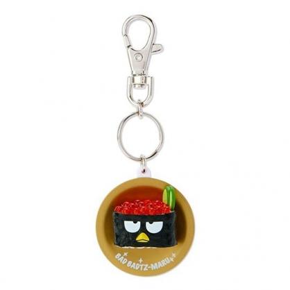 〔小禮堂〕酷企鵝 立體壽司盤造型塑膠鑰匙圈《黑》掛飾.吊飾.鎖圈