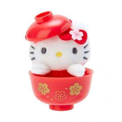 〔小禮堂〕Hello Kitty 迷你茶碗造型絨毛玩偶娃娃《紅》擺飾.玩具