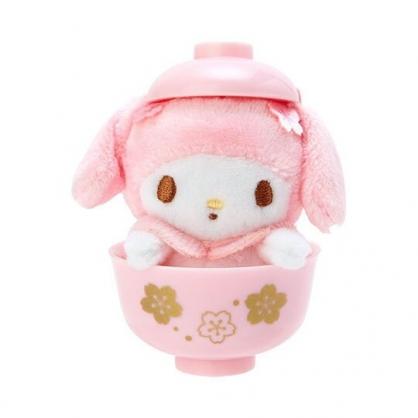 〔小禮堂〕美樂蒂 迷你茶碗造型絨毛玩偶娃娃《粉》擺飾.玩具